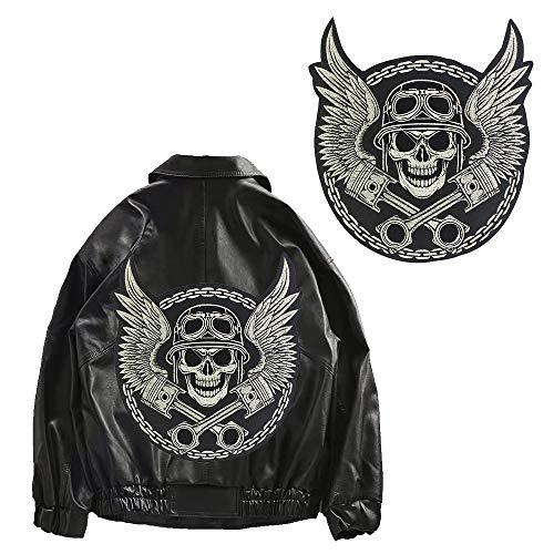 EMDOMO Große Stickerei-Aufnäher mit Totenkopf-Flügeln, für Jacke, Rücken, Motorrad, Biker, Aufnäher zum Aufbügeln, 1 Stück