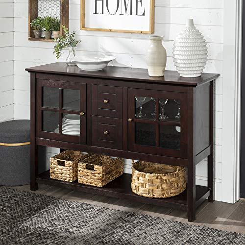 Walker Edison Furniture Company Rustic Farmhouse Wood Buffet Storage Cabinet Living Room, 52 Inch, Espresso