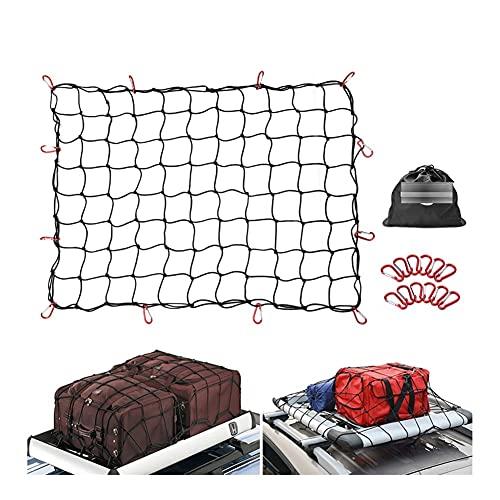 BUYD Red de Equipaje 3'x4 'a 6'x8' Carga elástica de la camioneta de Malla de la camioneta de la camioneta de la Malla 12pcs Carabiners & Storagebag para Cargas de Enganche más Apretado Nylon