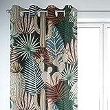SCHÖNER LEBEN. Vorhang Palmen Blätter Kaktus schwarz bunt 245cm oder Wunschlänge, Gardinen Aufhängung:Ösen