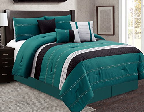 JBFF Oversize 7 Piece Luxury Bacon Bed in Bag Microfiber Comforter Set (Queen, Teal)