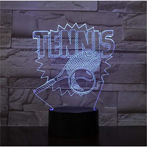 Lámpara 3D The Sport Tennis Presente para niños Sensor táctil Atmósfera Lámpara de luz nocturna LED de 7 colores para niños