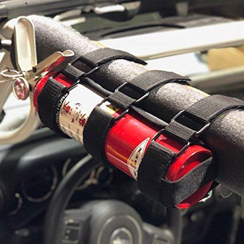 Adjustable Roll Bar Fire Extinguisher Holder for Jeeps - Durable Stitching. For Jeep Wrangler, Unlimited, CJ, JK, JKU, JL, JLU, TJ, Rubicon, Sahara, Sport. Extinguisher not included. (Black)