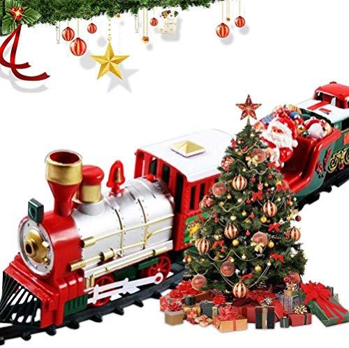 Wealthgirl Juego clásico de Trenes navideños, Juego de Trenes Luces y Sonidos Pistas de ferrocarril de 260 cm para Debajo del árbol de Navidad Juguetes electrónicos niños y niñas Juguetes