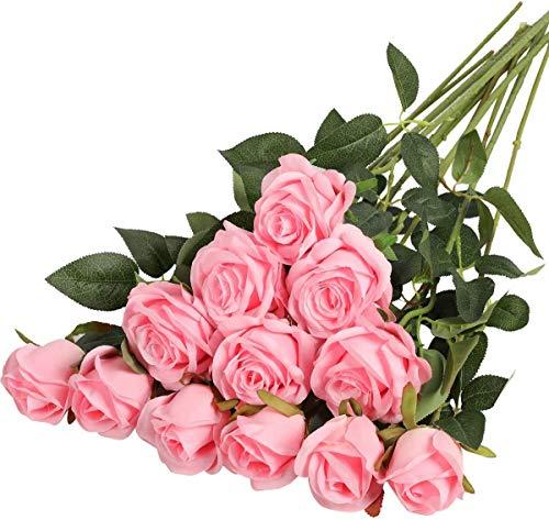 Hawesome 12pcs künstliche Rosen Seidenrosen Kunstblumen 6 Blüten & 6 Knospen Blumenstrauß Dekoration Hochzeit Wohnzimmer Party Blumenarrangement Cafe dekorative Blumen rot weiß rosa violett