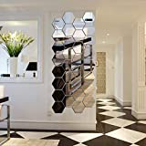 WingFly Miroir Acrylique Stickers Muraux Miroirs Amovible Sticker Géométriques Hexagone Décalque Autocollant Mural pour Maison Chambre Salon Décor (24 Pièces)