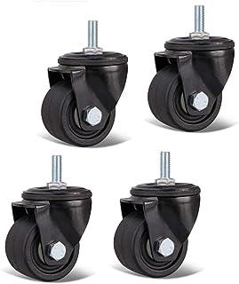 Peakfeng 4 Swivel 50mm Wielen met rem Trolley Meubels Caster Nylon s Industriële Caster Zwart Draagvermogen 500Kg (Kleur: ...
