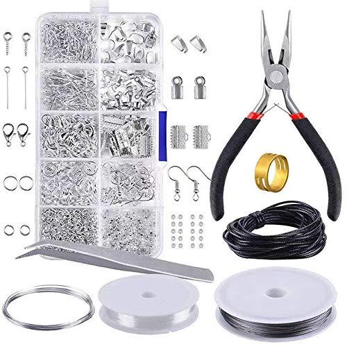 Smyckeskaparsats, fynduppsättning 912 delar smycken tillbehör startkit inkluderar tång, pincett, silvertillbehör och ledningar för smycken reparation gör gör-det-själv hantverk tillbehör