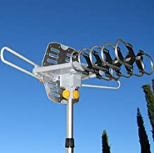 Able Signal Amplified HD Digital Outdoor HDTV Antenna 150 Miles Range with Motorized 360 Degree Rotation, UHF/VHF/FM Radio with Infrared Remote Control (Antenna with Black j-Pole)