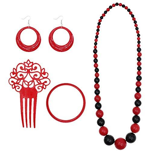 Set Accesorios Flamenca Sevillanas Rojo Topos Negros (4 PCS)