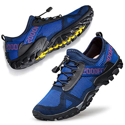 Ritiriko Traillaufschuhe Unisex Fitnessschuhe Laufschuhe Wanderschuhe Outdoor Barfußschuhe rutschfest für Freizeit Fitness Sport Laufen Blau Schwarz 44