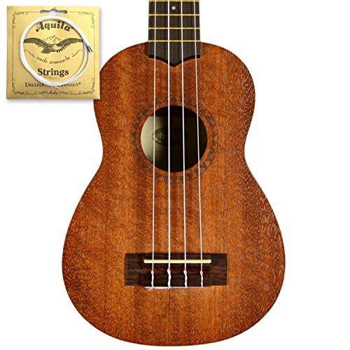 Kala KA-15S Mahogany Soprano Ukulele With Free Aquila AQ-S (4U) Soprano Strings