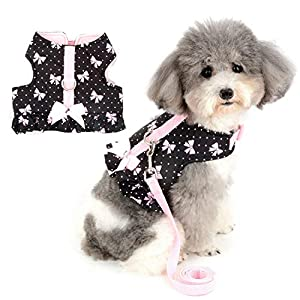Zunea No Pull Small Dog Girl Harness Dress Escape Proof Cat Kitten Vest Harness and Leash Set Step-in Soft Cotton Padded Colorful Floral Jacket Puppy Chihuahua Clothes with Cute Bow for Walking