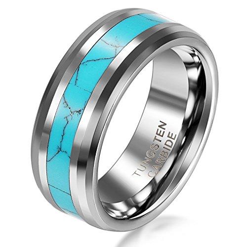 JewelryWe Schmuck Wolframcarbid Damen-Ring Synthetische Türkis Inlay 6mm Bandring Eheringe Verlobungsringe Größe 52