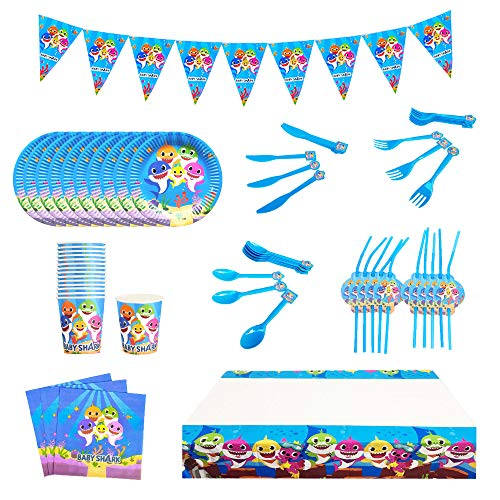 smileh Birthday Party Decoration Baby Shark Tableware for Kids Including Plates Cups Napkins Forks Spoons Knives Tablecloth Pennant Straws for Marine Themed Party