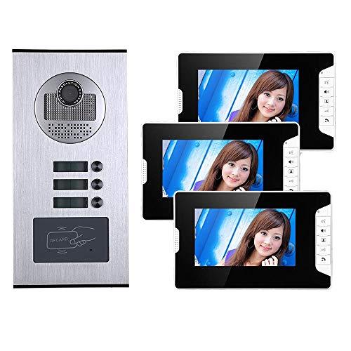 7 Pulgadas 3 Apartamento/HOPA HD 1000tvl Cámara de Timbre de la cámara Video Door Bell Intercom System con 3 Botón 3 Monitor de Monitor a Prueba de Agua