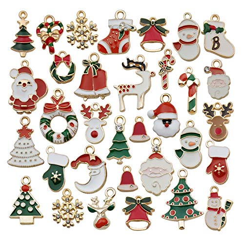 WOCRAFT 60pcs Assorted Gold Plated Enamel Christmas Charm Pendant for DIY Jewelry Making Necklace Bracelet Earring DIY Jewelry Accessories Charms (M346)