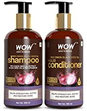 WOW Skin Science Red Onion Black Seed Oil Shampoo & Conditioner Kit With Red Onion Seed Oil Extract, Black Seed Oil & Pro-Vitamin B5 (Shampoo + Conditioner), 600 ml