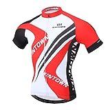 YOUJIA Maillot de Ciclismo/Bicicleta - Manga Corta - Respirable/Secado rápido - Hombres (Rojo #3, XL)