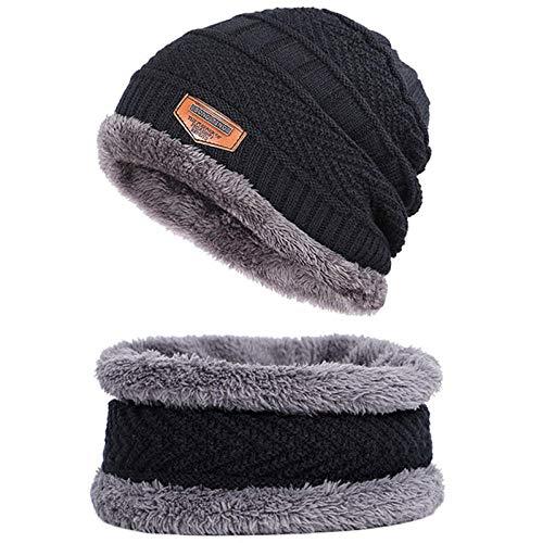 Bonnet Unisexe Chapeau tricoté Homme Beanie Hats, Bonnet écharpe Bonnet Chaud en Tricot Cagoule Chapeau d'hiver pour Hommes pour Femmes Bonnet Bonnet Skullies @ Noir