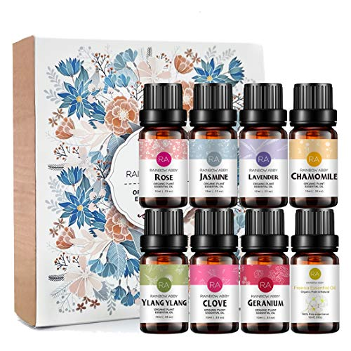 Top 8 Essential Oil Set 100% Pure Flower Essential Oil for Aromatherapy (Jasmine, Rose, Chamomile, Lavender, Ylang-Ylang, Freesia, Clove, Geranium) - 8 X 10ml