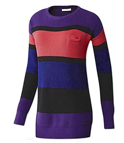 adidas Damen Pullover Strickpullover NEO Longpullover Stripe Sweater (XXS, coll Purple)