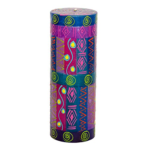 Kapula South African Large Pillar Candle - Fair Trade - Hand Painted Blue Moon Design - Single Wick - 7 x 20 cm