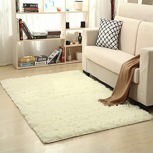 SWNN Carpet Volltonfarbe Dickes langes Haar waschbar rutschfeste Seide Haar rechteckig grau/braun/beige Polyester Wohnzimmer Couchtisch Schlafzimmer Bett Teppichboden/Yoga-Matte