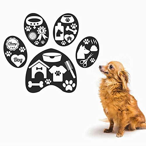 zqyjhkou Diseño de la Pata del Perro Etiqueta de la Pared Vinilo Interior Decoración para el hogar Tienda de Mascotas Salon Puppy Dog Vet Decals Mural Autoadhesivo extraíble90x75cm