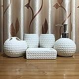 Ashtray 5 Piezas de cerámica Titular de Accesorios de baño Set W/Cepillo de Dientes, Vaso, Plato de jabón y dispensador,C