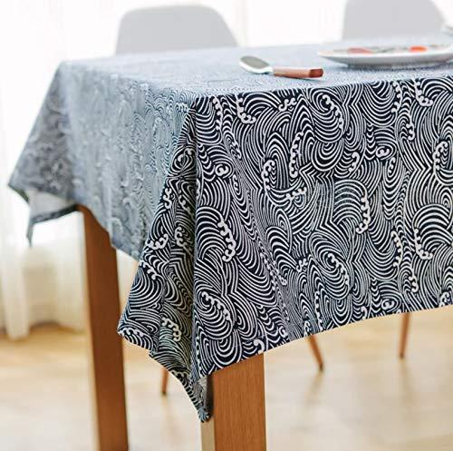 AueDsa Tischdecken Rechteckig,Wellen Tischdecke Rechteckig Baumwolle Leinen Dunkelblau Weiß Tischtuch 140x140CM