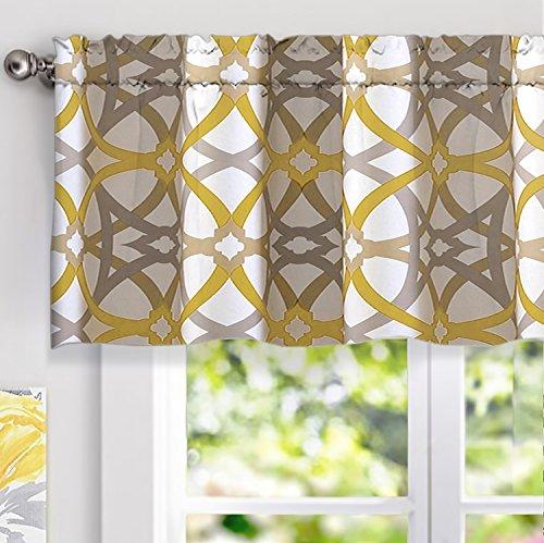 DriftAway Alexander Spiral Geo Trellis Pattern Window Curtain Valance Rod Pocket 52 Inch by 18 Inch Plus 2 Inch Header Yellow and Gray 1 Pack