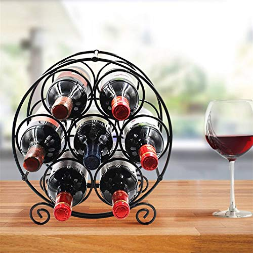 BestValue Go 7 Bottles Free Standing Metal Wine Rack Tabletop Wine Storage Holders StandsPerfect for Bar Kitchen Countertop Tabletop Cabinet Pantry etc Black