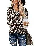 BMJL Camiseta de manga larga con estampado de leopardo para