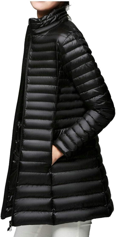 Gocgt Women's MidLength Stand Collar Coat Packable Lightweight Down Jacket