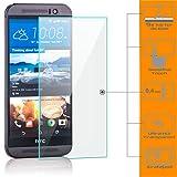Saxonia [2 Stück Bildschirmschutz Folie kompatibel mit HTC One M9 Bildschirmschutzfolie aus gehärtetem Glas Schutzglas Glasfolie Schutzfolie | HD Klar Transparent