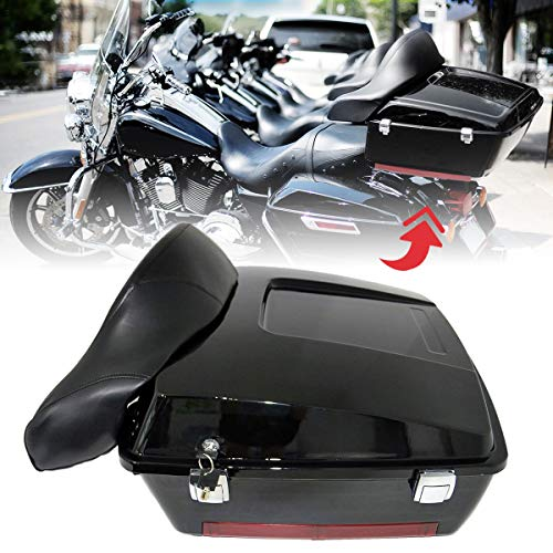 Motorcycle Large Pack Trunk With Backrest Compatible with 1997-2008 Harley Davidson Touring Models
