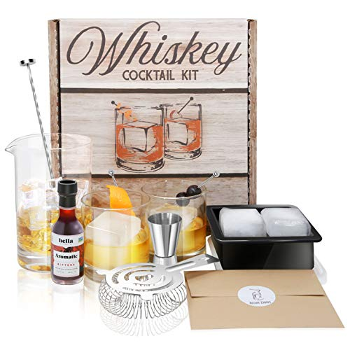 Whiskey Cocktail Kit including drinking glasses, mixing glass and accessories