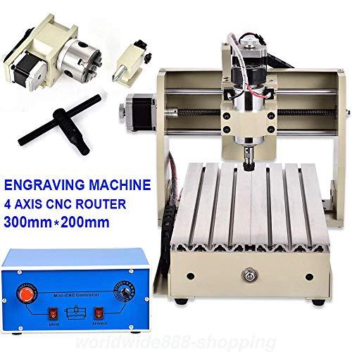 XINTONGRULE 4 Axes 3020 CNC Graveuse, fraiseuse, fraiseuse à portique, Machine de Gravure, Machine à Graver Graveur, Surface de Travail: 200 (X) mm x 300 (H) mm x 45 (Z) mm