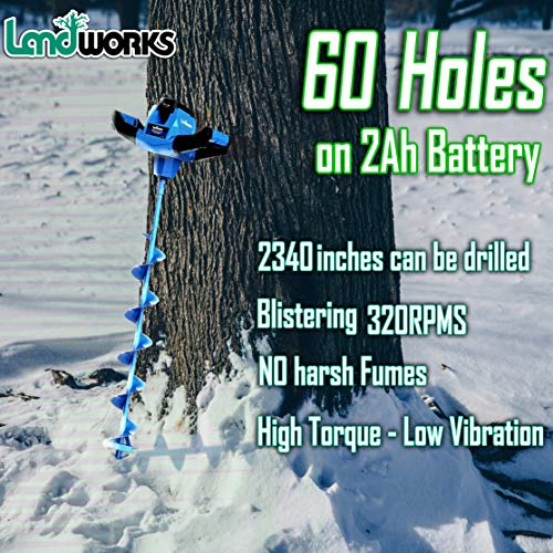 """Landworks Ice Auger Power Head w/Steel 8""""x39"""" Bit Heavy Duty Eco-Friendly Electric Cordless Lithium-Ion Battery & Charger for Ice Burrowing/Drilling & Ice Fishing (Ice Auger 8"""" Set)"""
