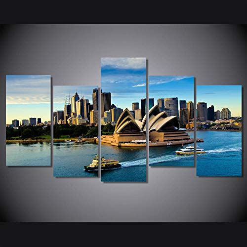 VVSUN 5 Piece Canvas Painting Sydney Opera House Building Boat Seascape Home Decor Print Poster Wall Art 30x60x4 30x80cm(No Frame)