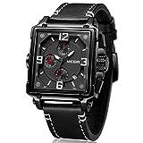 Megir Sport All Black - Orologio con cronografo analogico da uomo rettangolare nero in pelle...