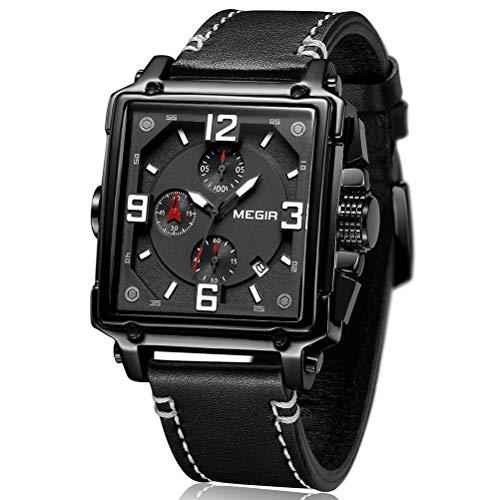 Relojes para Hombre All Black, Reloj Grandes Rectángulo, Relojes Militar Cuero Negro con Calendario Reloj de Pulsera de Cuarzo para Hombres, Resistente al Agua, Luminoso