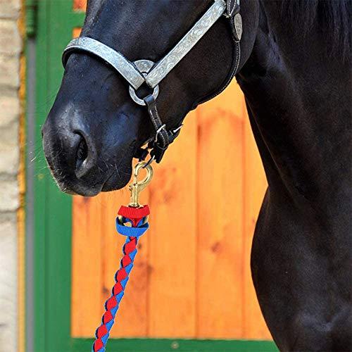 TOP-MAX Cuerda de plomo para caballo de 4 m – Cuerda de corbata en varios diseños elegantes, plomo plomo pony, burro, cabra (rojo y negro)