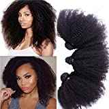 Morningsilkwig Afro Kinky Frisées-Curly Perruques cheveux brésiliens cheveux couleur 1B# Noir naturel Bon Marché Pour Femmes 100 gramme p.Bundle (1 Tissage 14inch/35cm 100g, Noir)