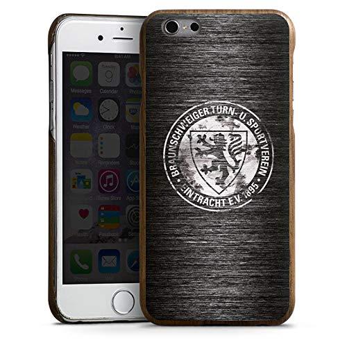 DeinDesign Holz Hülle kompatibel mit Apple iPhone 6 Holz Schutzhülle Echtholz Handyhülle Eintracht Braunschweig Fanartikel Metall Look