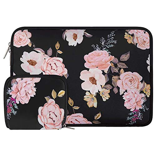 MOSISO Laptop Sleeve Compatible with 13-13.3 inch MacBook Pro, MacBook Air, Notebook Computer, Water Repellent Neoprene Peony Bag with Small Case