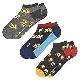 soxo Herren Bunte Sneaker Socken | Größe 40-45 | 3er Pack | Baumwolle Herrensocken mit Lustigen Motiven | Perfekt für Flache Schuhe | Tolle Ergänzung für Ihre Garderobe | Pizzax2/BurgerundPommes