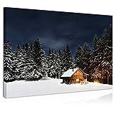 Topquadro Cuadro Imagen sobre Lienzo 70x50cm, Casa de Madera, Cabaña, Chimenea y Fuego, Nieve Invierno, Noche - Decoración de Pared - Una Pieza