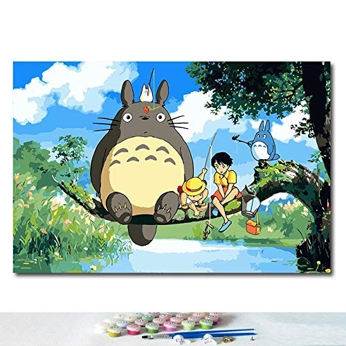JHGJHK Hayao Miyazaki Anime Cartoon My Neighbor Totoro Manga Movie Oil Painting Mural Family Room Decoration Painting (Picture 9)